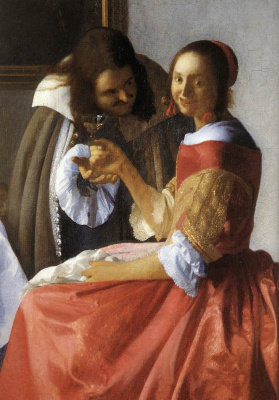 Jan Vermeer. Girl with a glass of wine. Fragment