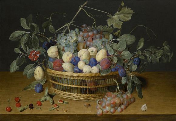 Якоб ван Хюльсдонк. Натюрморт со сливами, виноградом и персиками в плетеной корзине, с вишнями, фундуком, жуком и бабочками