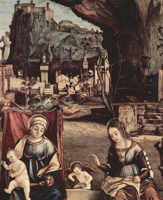 Vittore Carpaccio. Madonna on the throne and John the Baptist, left: St. Joseph and St. Anne, left: St. Elizabeth and St. Zacharias, detail: Mary and Elizabeth