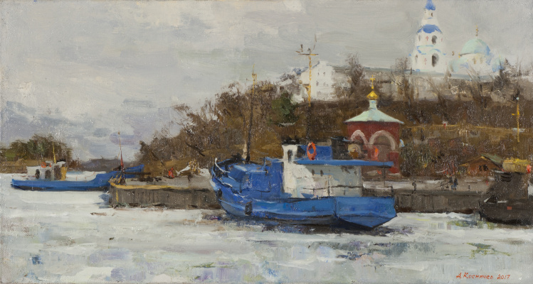 Alexander Evgenievich Kosnichev. Ships in the monastery bay