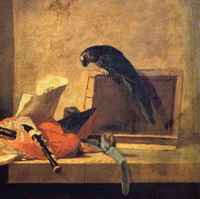 Жан Батист Симеон Шарден. Натюрморт с музыкальными инструментами и попугаем. Фрагмент