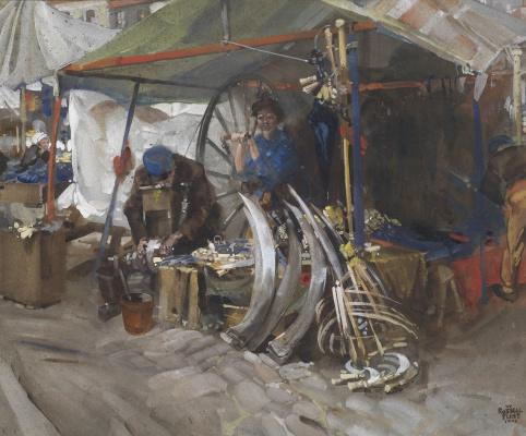 William Russell Flint 1880 - 1969 Scotland. Cutlery, market in Esden. 1906