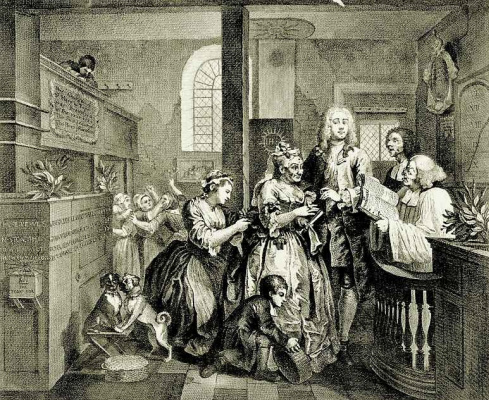 William Hogarth. Marriage to spinster