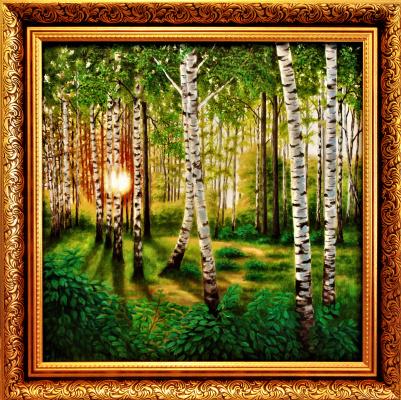 Natalia Viktorovna Tyuneva. Sunset in a birch grove