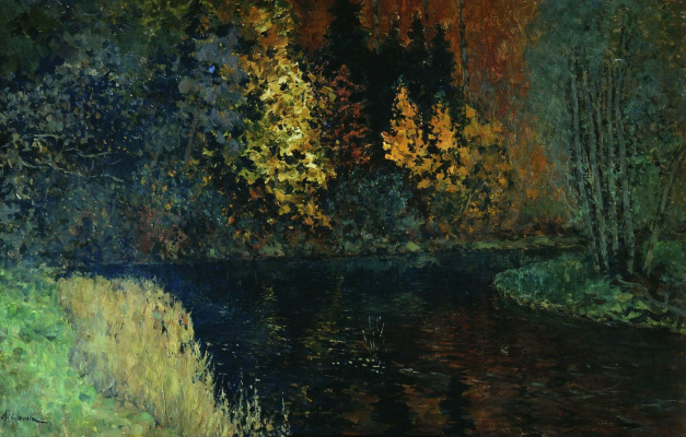 Isaac Levitan. Forest river. Autumn on the river Istra