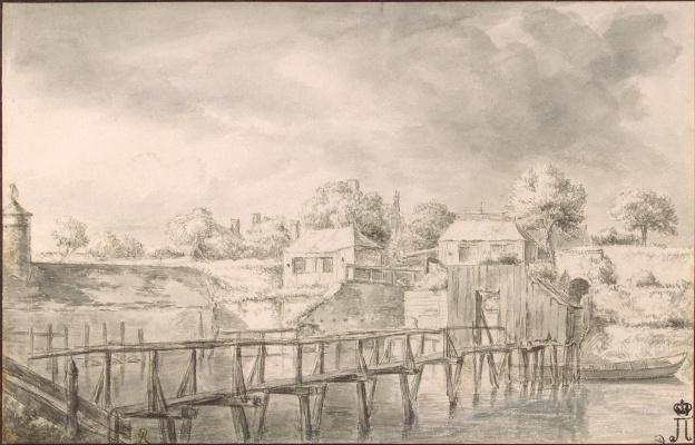 Jakob van Isaacs Ruisdael. Landscape with bridges across the canal