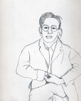 Lucien Freud. A man with glasses
