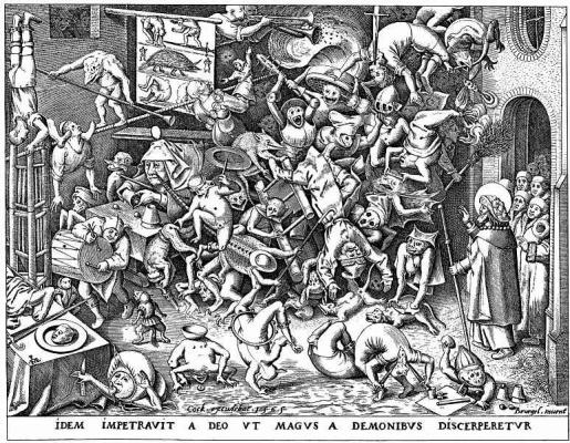 Pieter Bruegel The Elder. The magician Hermogenes and the fallen demons