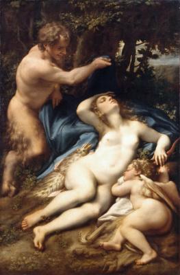 Антонио Корреджо. Спящие Венера и Купидон с Сатиром