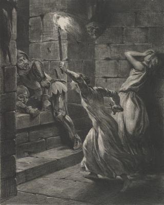 Sister warrior attacking British soldiers who infiltrated the castle of Pontorson