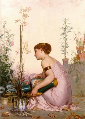 Лестрел. Женщина, поливающая цветы