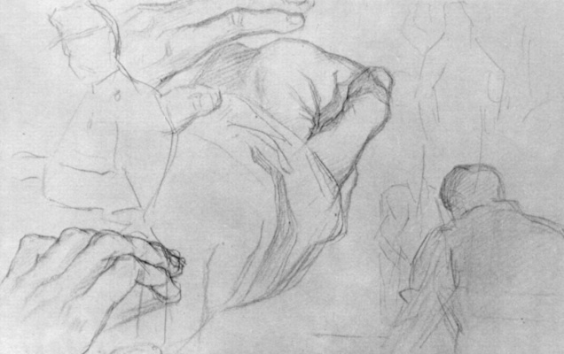 Georges Seurat. Sheet with sketches of soldier figures and the hand