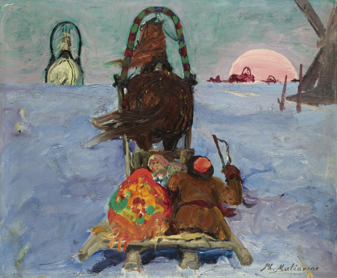 Filipp Andreevich Malyavin. WINTER LANDSCAPE WITH SLEIGH