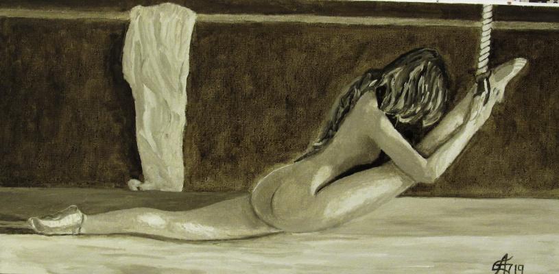 Artashes Vladimirovich Badalyan. Twine (in tones of natural umber) - x-hardboard-m - 20x40