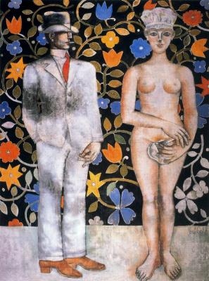 Франко Джентилини. Мужчина в костюме и обнаженная женщина