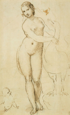 Raphael Santi. Leda and the Swan (Leonardo da Vinci)