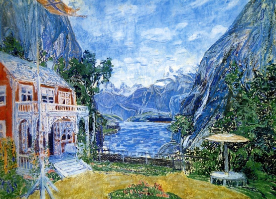 """Alexander Yakovlevich Golovin. The doctor's garden Angela. A sketch of the scenery for the first act of the drama """"Daughter of the sea"""" by H. Ibsen"""