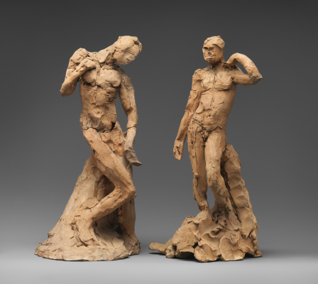 Auguste Rodin. Couple standing naked men