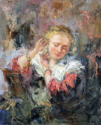 Tuman Art Gallery Tumana Zhumabayeva. Girl with an earring