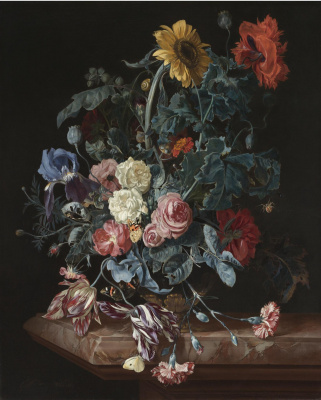 Willem van Aelst. Still life with a bouquet of flowers on marble table