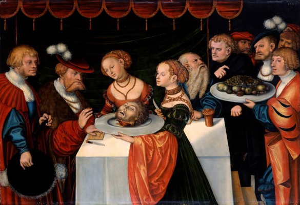 Lucas the Younger Cranach. Salome with the head of John the Baptist at the feast of Herod