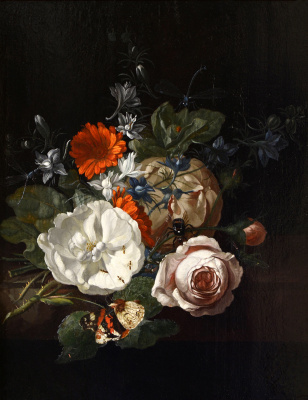 Rachelle Ruysch. Still life with flowers on the table