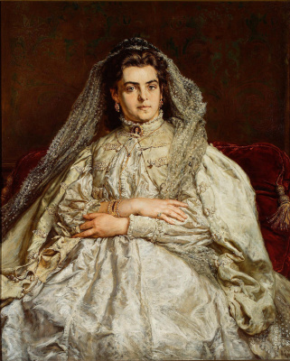Theodora Dzhibultovska Matejko, the artist's wife, in a wedding dress