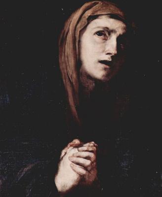 Jose de Ribera. Pieta, detail: Head of Mary