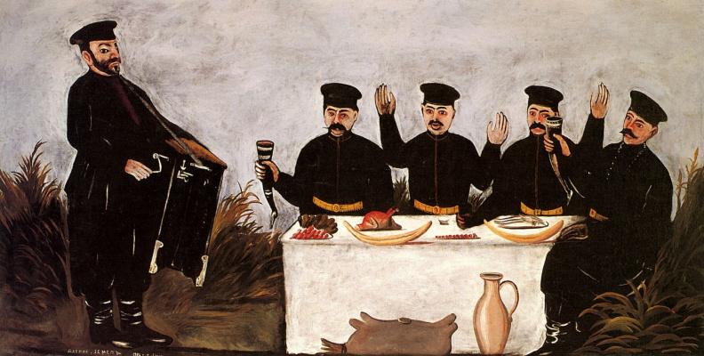 Niko Pirosmani (Pirosmanashvili). Feast with organ-grinder Datiko Land