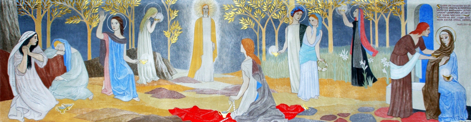 Tove Jansson. Parable about ten virgins. The painting of the church in Teuva