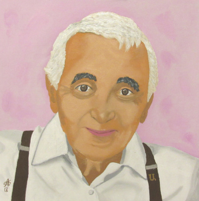 Artashes Badalyan. Portrait of Charles Aznavour - map. - 30x30