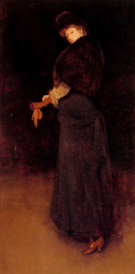 James Abbot McNeill Whistler. Arrangement in black: Lady in a yellow Shoe. Portrait of lady Archibald Campbell