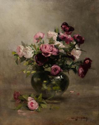 Eva Gonzalez. Vase with roses