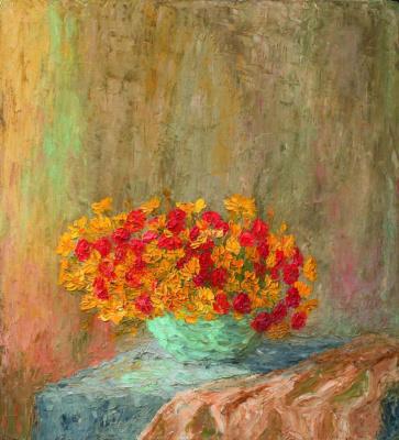 Николай Григорьевич Бурачек. Still life with red and yellow flowers