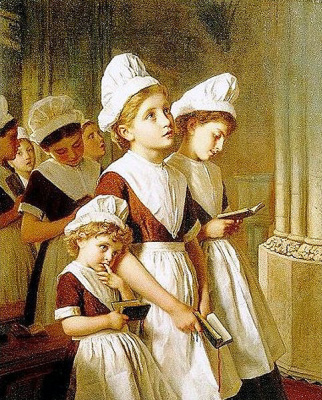 Sophie Jeanjambre Anderson. Girls of the school in prayer in the chapel
