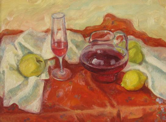 Evgenia Alexandrovna Belyakova. Red still life with lemon