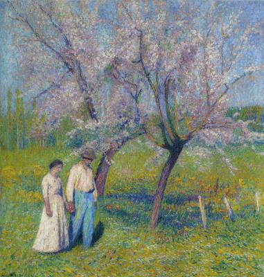 Анри Мартен. Прогулка под деревьями яблонь