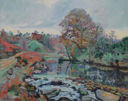 Arman Guillaume. Landscape of the Creuse, view on the bridge, Sarro