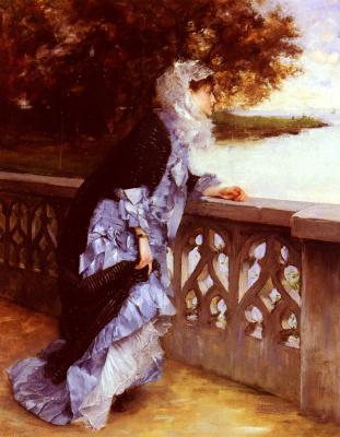 Поль Луи Деланк. Элегантная дама стоит, опираясь на перила