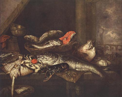 Абрахам Ван Беуерен. Натюрморт с рыбой