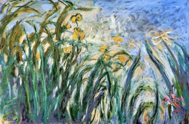 Claude Monet. Yellow irises and mallow