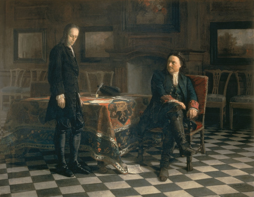 Nikolai Nikolaevich Ge. Peter the great interrogating the Tsarevich Alexei Petrovich in Peterhof