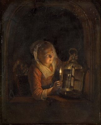 Gerrit (Gerard) Dow. Girl with a lantern in the window