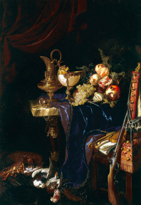 Willem van Aelst. Still life with pitcher, fruit and game