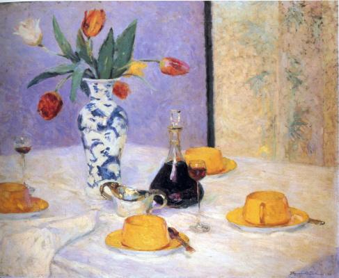 Констанс Стюарт Ларраб. Натюрморт с тюльпанами и чашками