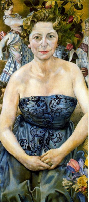 Stanley Spencer. Woman in blue dress