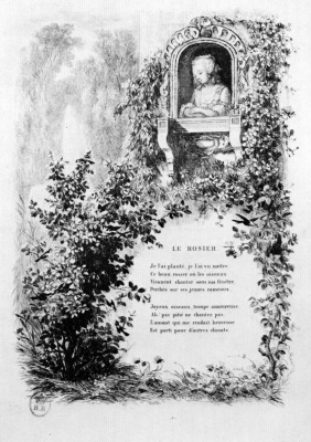 "Charles-Francois Daubigny. Illustrations to the collection ""French folk songs and rhymes"": the rosebush, the first vignette"