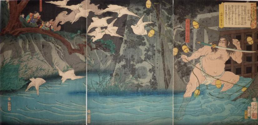 Tsukioka Yoshitoshi. Triptych: the Warrior Thorium Neemon Kazutaka during the siege of the castle Nagashino Takeda Katsuyori