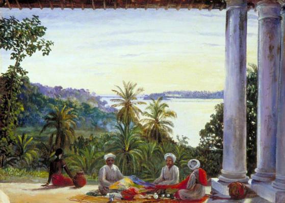 Марианна Норт. Бомбейские торговцы на веранде госпожи Камерон, Калутара, Цейлон