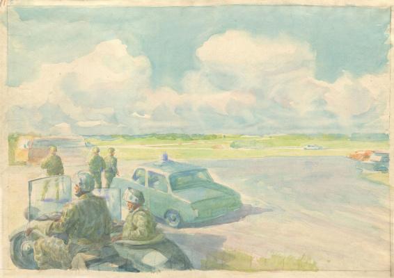 Alexandrovich Rudolf Pavlov. Police post. Sketch.